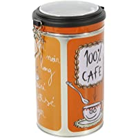 Faveco 509246 Boîte Ronde de Rangement, Métal, Motif café Color, 13.5 x 19.2 x 11.5 cm, Multicolore