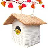 LIVEONCE Bird House in Macramé Coir for Cage All Birds Love Birds,Budgies,Finches and Decoration -Color -White