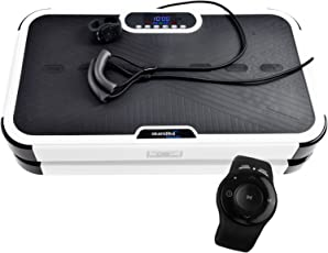 skandika Vibration Plate 900 Plus Vibrationsplatte- 2 Kraftvolle Motoren mit 3D Wipp Vibrations,120 Intensitätsstufen, Bluetooth-Musik,Trainingsbänder +Fernbedienung + A1 Übungsposter Vergleichsieger