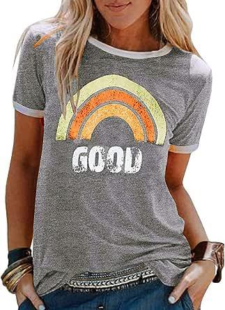 ORANDESIGNE Good T-Shirt Femme Arc-en-Ciel Imprimé Tee Shirt Manches Courtes Col Rond Chemise Haut Tops