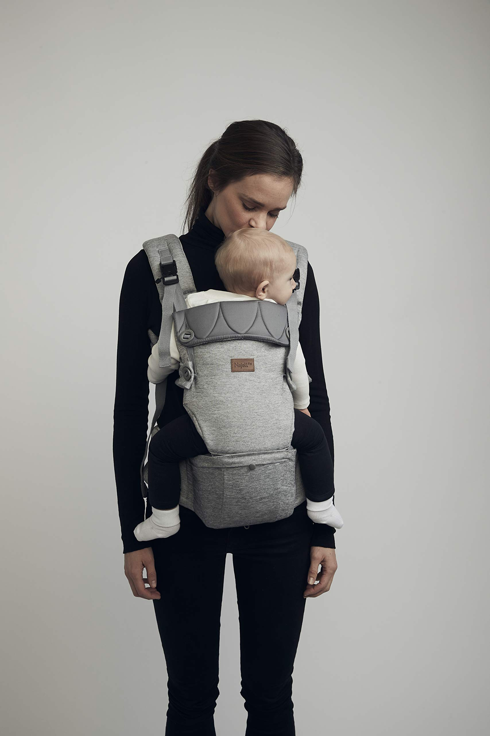 Najell Omni Active Mesh Baby Carrier with Hip Seat, Brilliant Black Béaba New-born ergonomic position and hips seat from 6 months. Market leading weight distribution with hip seat, recommended by the international hip dysplasia institute as a hip-healthy baby carrier Weight: 3, 5 to 15 kg and age: new-born to 3 years. 20