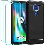 iVoler Hoesje Compatibel met Motorola Moto G9 Play + 3-pack Screen Protector Beschermfolie van Gehard Glas met Ontwerp van Ko