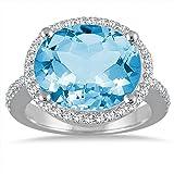 8carati con topazio blu ovale e diamanti in oro bianco 14K