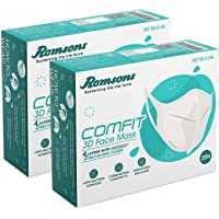 ROMSONS Comfit 3D 4 Layers Face Mask with 2 Melt-Blown Filter & Softest Ear Loops, 25 Pcs/Pack, (Pack of 2) 50 pcs