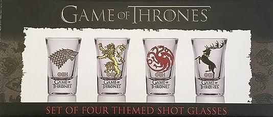 GOT Schnapsglas-Set 10715 mit Game-of-Thrones-Motiv: Häuser Baratheon, Targaryen, Stark und Lannister