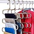 DOIOWN Cintre Pantalons Gain de Place, Type-S Acier inoxydable robuste pour suspendre les pantalons, les jeans et les écharpe