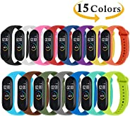 Monuary 15 Pieces Straps for Xiaomi Mi Smart Band 4/Mi Band 3, Colourful Replacement Bracelet in Anti-Lost Silicone Designed