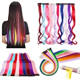 Colored Hair Extensions Clip in Rainbow Hair Clips Hair Piece Accessories 22 Inches Colorful Color 10 Pieces Hightlight Hair
