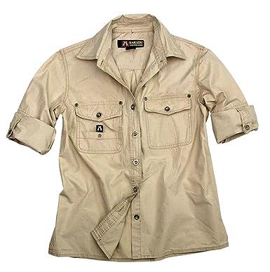 Outdoor Safari Hemd In Beige Und Grün Aus Leichter Baumwolle