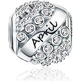 FOREVER QUEEN November Geburtsstein Charm Bead für Damen 925 Sterling Silber zum Geburtstag Charm Anhänger für Armband und Ha