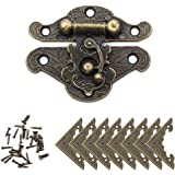 YGSAT 1Set Vintage Lock Antique Bronze Embossing Latch Hasps Retro Latch with Corner Protectors and Screws for Wooden Jewelry