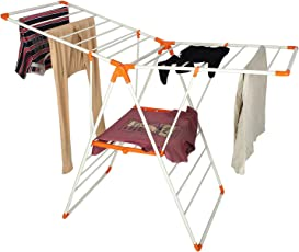 Easelife™ Clothing Stand for Drying Steel Body Clothes Drying Stand Foldable for Balcony 3 Layer Hanging Drying Stand for Clothes (Assorted Color)