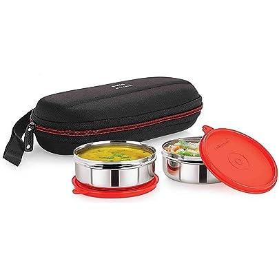 Cello Max Fresh Super Steel Lunch Box Set, 2 Pieces, Red