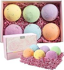 Anjou Badebomben mit Getrocknete Blüten Geschenkset, 6 x 115 g für Feuchtigkeitsspendende Hautpflege, Spa-Aromatherapie usw.