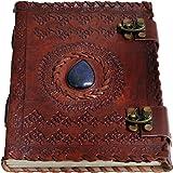 Jaald A5 Bloc-notes Carnet Cahier Feuilles Leather journal Intime avec Couverture en Cuir Fait à la Main Boulon arbre de la v