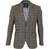 Cavani Walter Mens Check Herringbone Tweed Regular Fit Blazer Grey