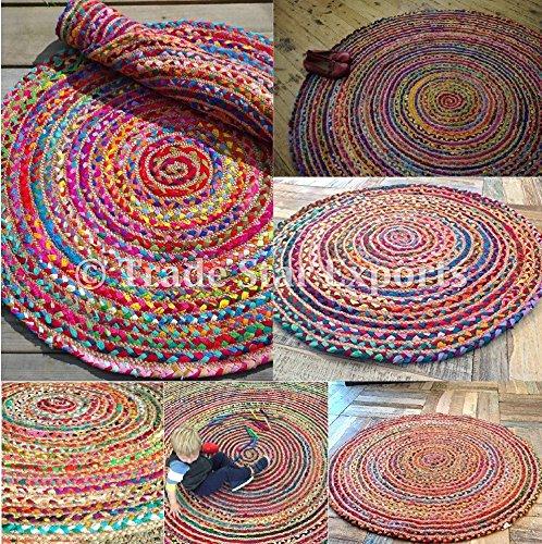 71,1cm rotondo intrecciato tappeto indiano, tappetini in moquette, etnici fatti a mano, decorativo multicolore tappeti per soggiorno