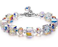 Susan Y Bracciale Donna, Aurora Boreale Bracciali Cristalli di Austria, Argento Sterling 925, Braccialetti Gioielli Regali di