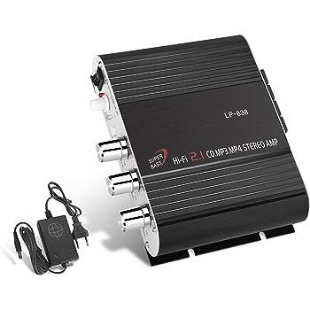 GHB 200W Amplificatore Audio Stereo Auto Mini Amplificatore Auto e Casa Dual-Use 2.1CH per Moto Scooter MP3 CD DVD con Alimentatore
