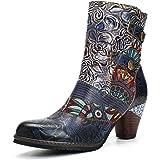 gracosy Dam stövlar färgglada, skor damer höst läder stövlar tryckt retro handgjord dragkedja skor hög topp block häl halkfri