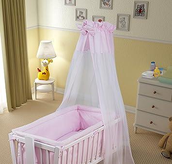 7 Pcs Crib Bedding Set With All Round Bumper 90x40 Cm Canopy Bow
