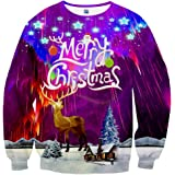 Hgvoetty Unisex Funny Ugly Christmas Sweater Colorful Graphic Sweatshirts for Men Women Teens