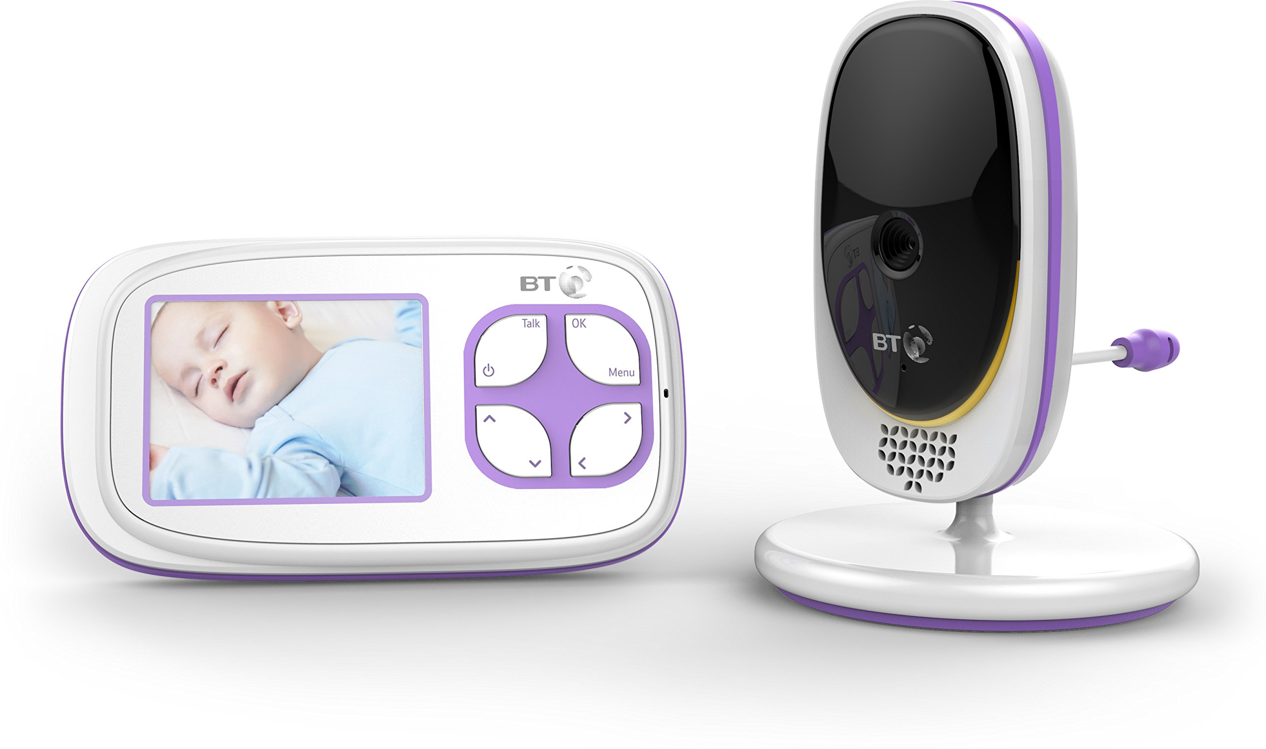 BT Video Baby Monitor 3000 BT 2.8 inch screen with night vision and 5 lullabies Manual (non-remote) pan/tilt mechanism Portable parent unit so you can move freely around your home with two way talk back.Temperature display - for added peace of mind/Features infra red night vision so you can see your baby in the dark/Low battery indicator 1