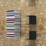 Collectible India Metal Book Shelf Shelves Invisible Wall Mount Bookshelves for Living Room Study Room(Set of 2, Black)