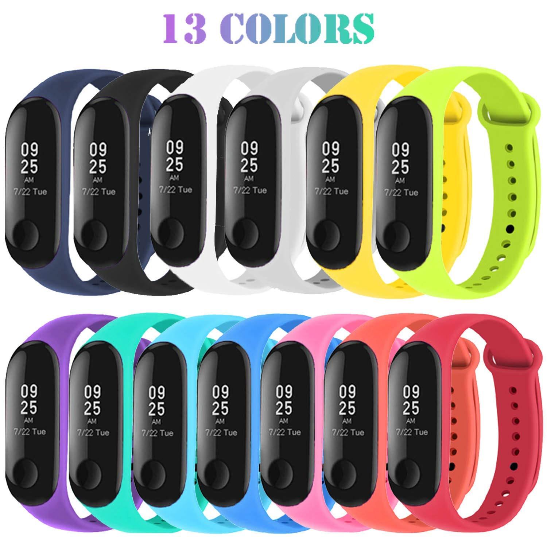 Madozon 13 Piezas Correas para Xiaomi Mi Band 3 /Mi Band 4 Pulsera Reloj Silicona Banda para Mijia Mi Band 4-13 Colores 1