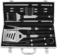 POLIGO 19-Teiliges BBQ-Werkzeug-Set, Heavy-Duty-Edelstahl Grill Grillen Utensilien Kit Set mit Aluminium-Etui, Premium Grillen Zubehör für Barbecue - Geburtstagsgeschenk für Männer Frauen