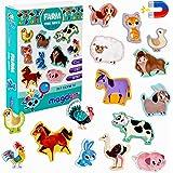 MAGDUM Imanes nevera niños Animales Granja - 15 Grandes imanes bebes - Montessori bebe - Animales de juguete - Juguetes bebes