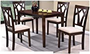 Galaxy Design Wooden Dining Table Set with 4 Chairs, Brown, GDF17090W