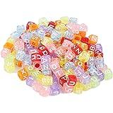 Buchstaben-Perlen, 200 Stück, Kunststoff-Perlen, Alphabet-Perlen für Bastelarbeiten, Schmuckherstellung, durchscheinend