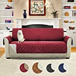 Double-sided Sofa Cover Reversible Quilted Furniture Protector, Single Seat Waterproof Non-slip Sofa Cushion Pet...