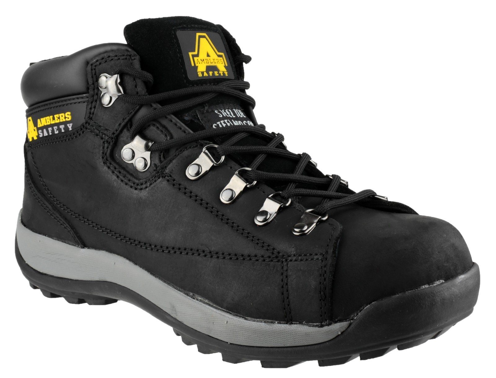 Amblers Steel Lace-Up Textile Lined Womens Boots - Black - Size 5