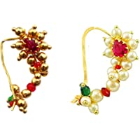 Vail Creations Combo of 2 Traditional Maharashtrian Nath Multicolour Gold Plated With Piercing Nose Ring Pin for Women…