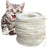 O'woda 50M Sisal touw voor krabpaal touw 6 mm, voor krabbomen, touwkoord, camping touw, tuin, multifunctioneel Utility Sisal