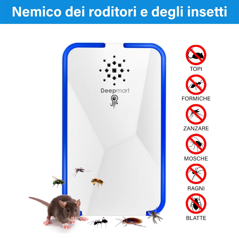 Scacciatopo dissuasore repellente ad ultrasuoni per topi mosche zanzare