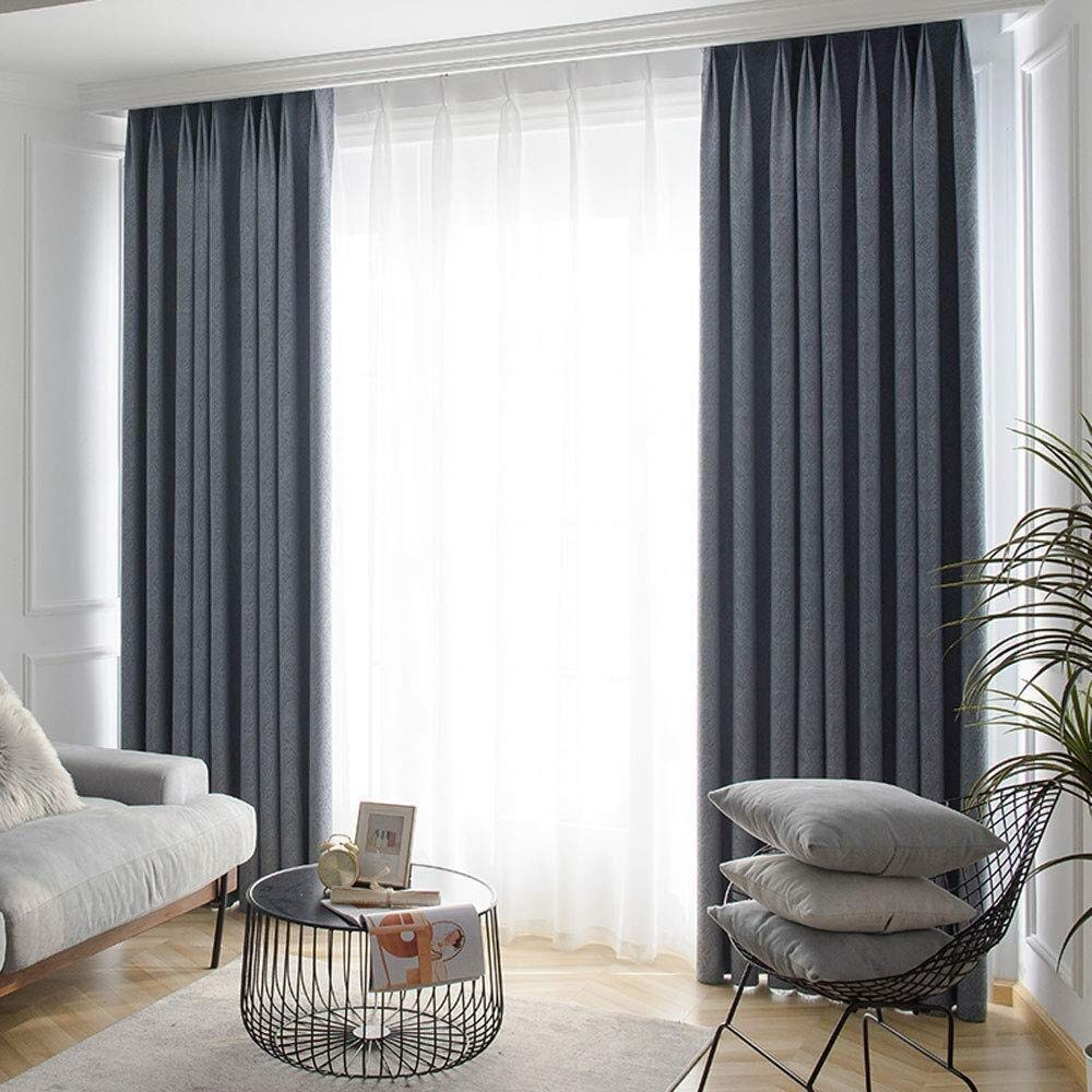 Tenda oscurante Curtain Shading - Soggiorno Camera da Letto Semplice di  Cotone Pieno insonorizzate e Lino Spessa Cortina Tessuto Opaco 2 Set