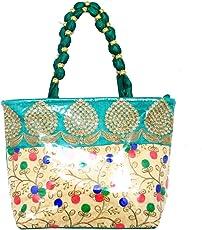 Kuber Industries Women's Silk Fully Laminated Handbag, Green