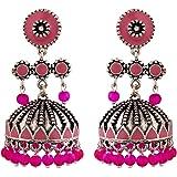 Voylla Rangabati Pink Beads Earrings Jewellery For Women