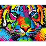 """iCoostor Paint By Numbers DIY Acrylic Painting Kit For Kids & Adults Beginner – 16"""" x 20"""" Colorful Tiger Pattern"""