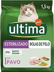 Ultima Pienso para Gatos Esterilizados Bolas de Pelo con Pavo - 1500 gr