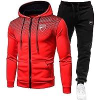 Woakzhe Uomo Tute Sportiva Set, Abbigliamento Sportivo da Uomini, Du.c-a.Ti Stampato Jogging Tuta Sportiva, Giacca…