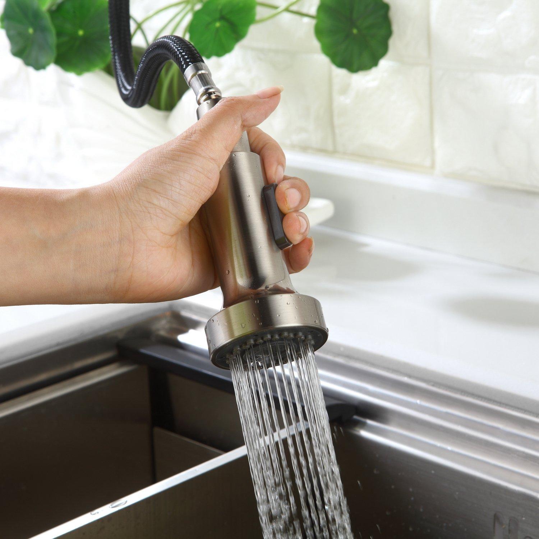 HOMELODY 2 Funciones Cocina Grifo Rociador Extraíble Cabeza Cepillado para sustituye Grifo Cocina y grifo fregadero Agua fría y Agua caliente