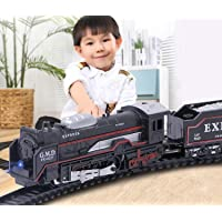 SRK Battery Operated Black Train Toy Set for Kids, Big Size Train Set for Kids | Bump and Go Musical Toy Train