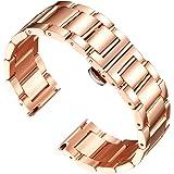 BINLUN Reemplazo de la Banda de Reloj de Acero Inoxidable Reloj de Metal Pulido Correa Sólida para Hombres Reloj de Mujer 16m