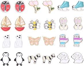 Onnea Ohrstecker Tier Blumen Coole Ohrringe Set Stecker Bunt für Mädchen Nickelfrei