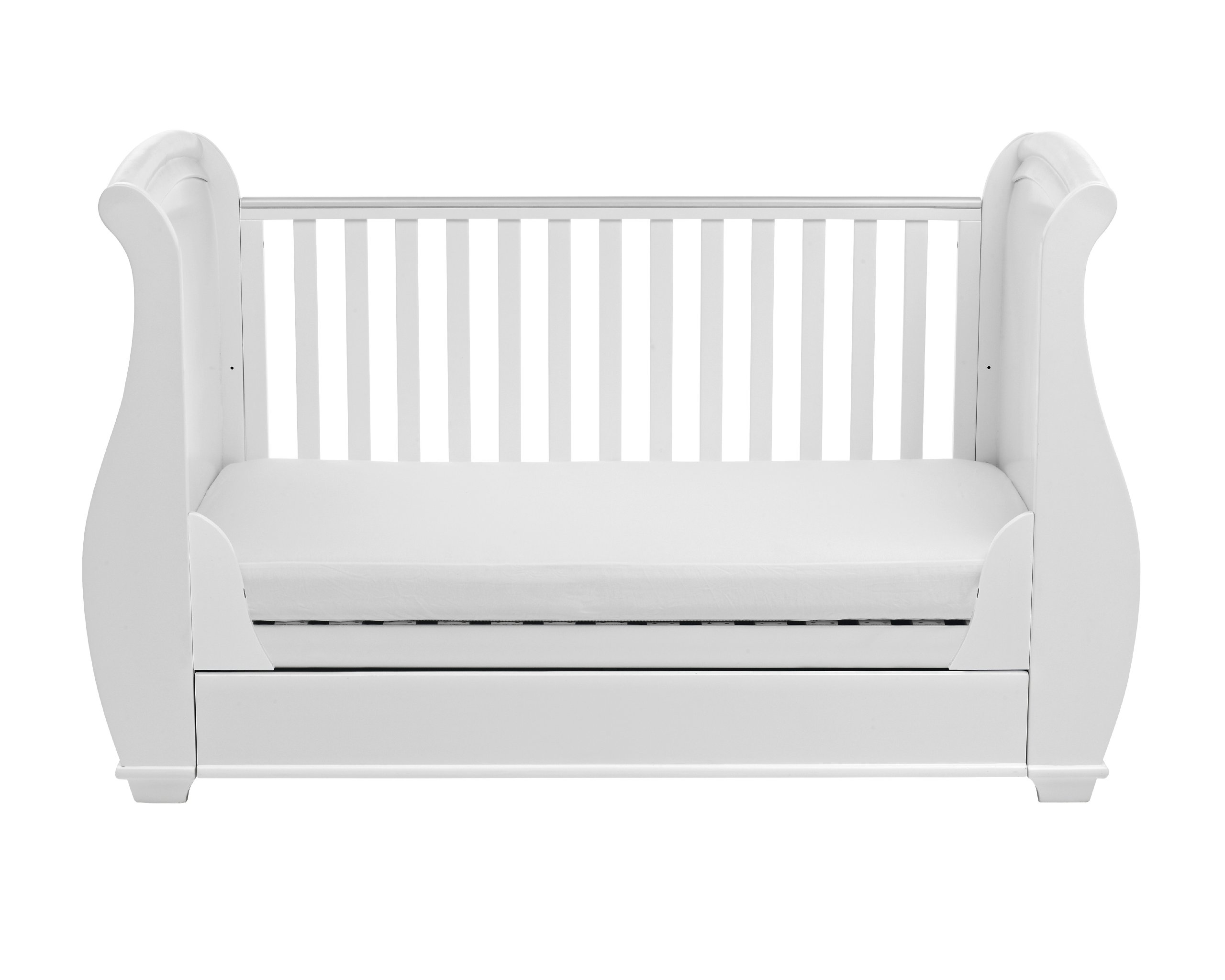 Babymore Bel Sleigh Cot Bed Dropside with Drawer (White)  Magnificent sleigh with appealing look of grandeur and solidity. Easily convert to junior bed/sofa/day bed, Meet British and European safety standards Single handed drop side mechanism allow easy access to your baby. 7