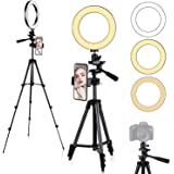"Anillo de Luz, [Nueva Versión] Diyife 6.3"" Tripode Luz Movil Aro de Luz para Movil, 3 Modos de Iluminación 11 Niveles de Bril"